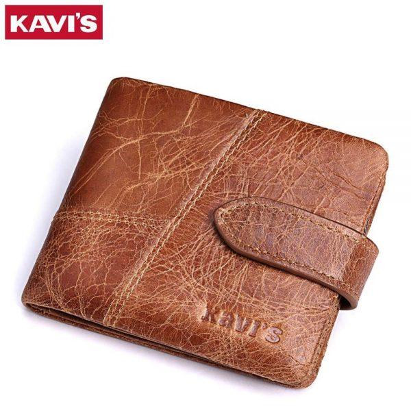 KAVIS New 100% Genuine Leather Men Wallets Man Famous Small Short  portomonee with Coin Zipper Mini Male Purses Card Holder Walet 48f9a8ec7019