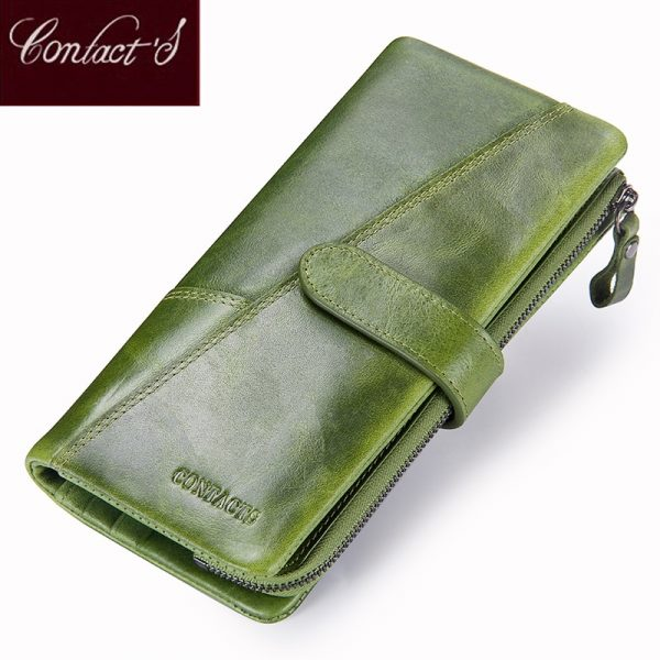 3b048fc9c193 Contact's New Genuine Leather Wallet Fashion Coin Purse For Ladies Women  Long Clutch Wallets With Cell Phone Bags Card Holder