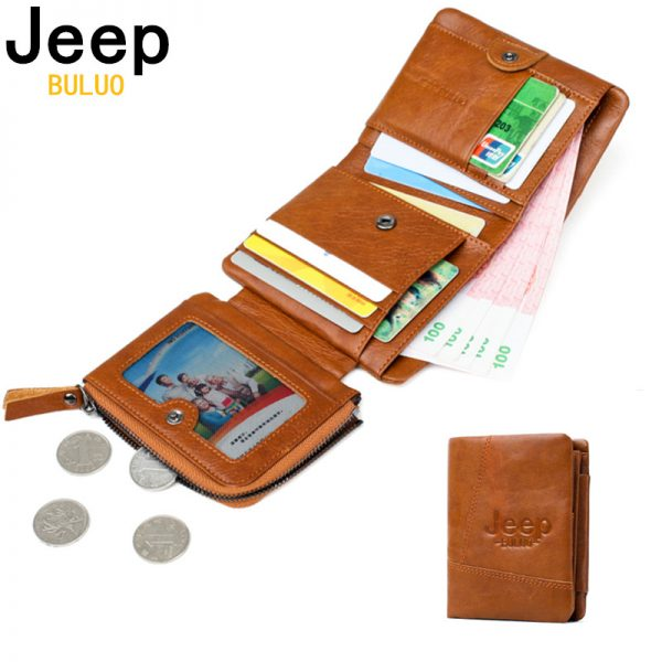 a7966b653235 Man's Wallet JEEP BULUO New Genuine Leather RFID Blocking Fold Card Wallets  For Men Natural Cow Leather Short Purse Bifold