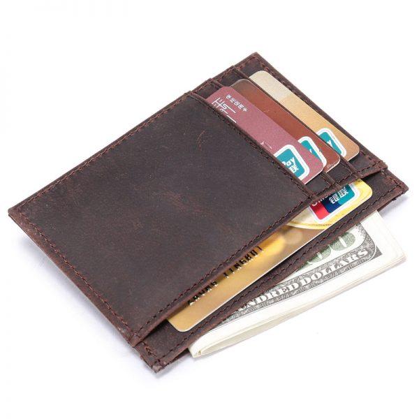 0d854c2be142 Men Ultra Slim Wallet RFID Blocking Handmade Small Money Clip Crazy Horse  Genuine Leather Purse Minimalist Wallet for Man R9009