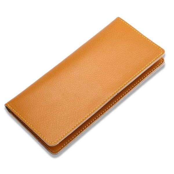 493e392517e0 Genuine Leather Men Long Wallet Women Long Purse Male Slim Money Bag Female  Credit Card Holder Thin Two Fold Clutch For Ladies
