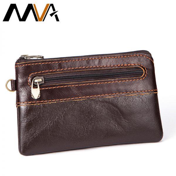 27ae554e15 MVA Genuine Leather Wallet Men Coin Purse Zipper Short Wallets Male Purse  Photo Card Holder Small Men's Leather Mini Wallets