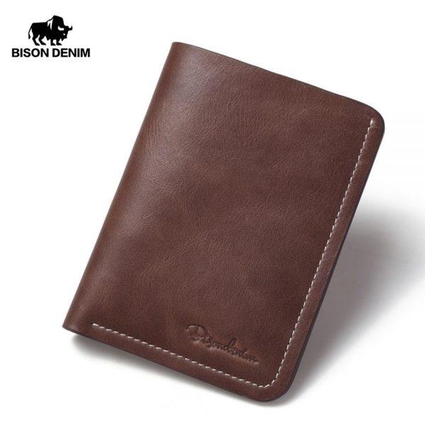 Brown BISON DENIM Genuine Cow Leather Wallets Long Purse For Men Black
