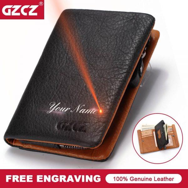 ee9deeb029f7 GZCZ 2018 New Men's Wallet Genuine Leather Classic Men Vallet Card Holder  Zipper Poucht Gift Male Purse Drop Shopping Portomonee