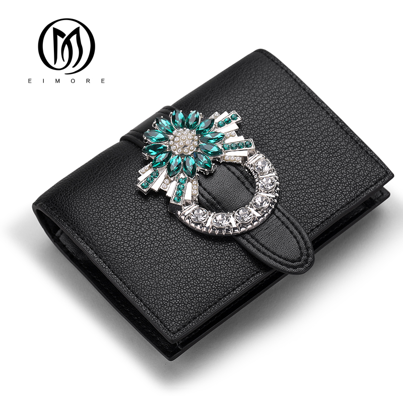 EIMORE Women Wallet Genuine Leather Purse Luxury Designer Diamonds Short Wallet Women Mini Card Holder Purses Coin Small Wallet