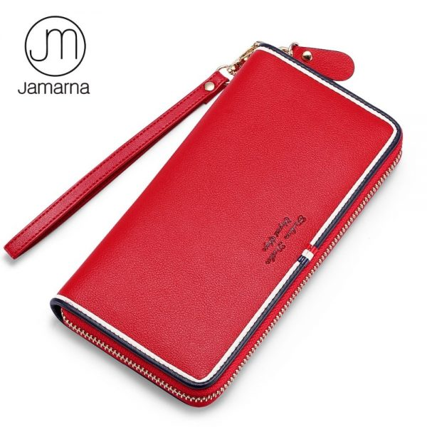 Jamarna Purse Genuine Leather Wallet Women Long Zipper Women Purse ... 7ceaffc9cefeb