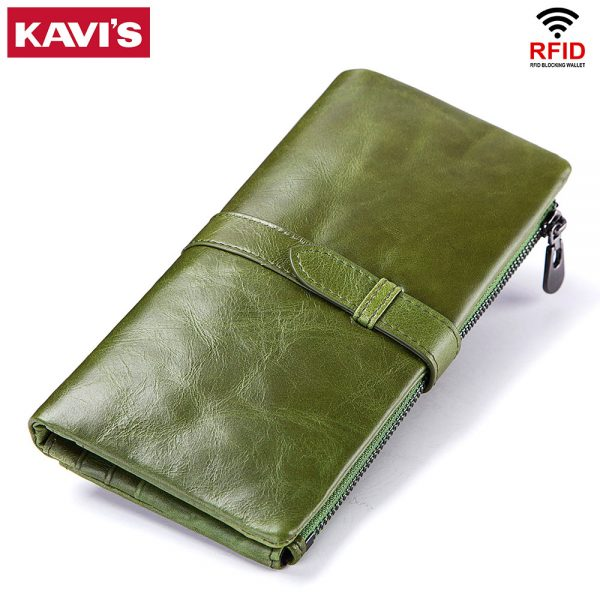 a09b67ed9989 KAVIS Cow Genuine Leather Women Wallet and Female Coin Purse Portomonee  Clutch Money Bag Lady Handy Card Holder Long Girls Hasp