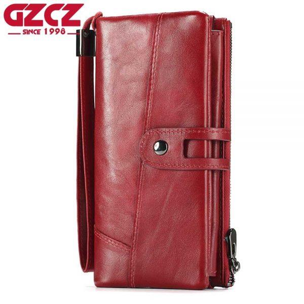b0f54d51c495 GZCZ Genuine Leather Women Wallet Female Long Clutch Lady Walet Zipper  Style Portomonee Rfid Luxury Brand Money Bag Coin Purse