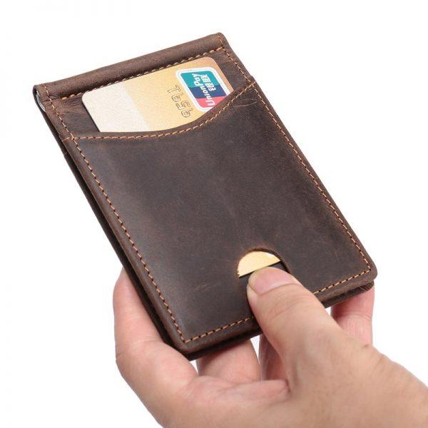 a6016d4d1245 Men RFID Blocking Slim Wallet Thin Minimalist Front Pocket Wallet Men Real  Leather Credit Card Money Clip for Man R9007