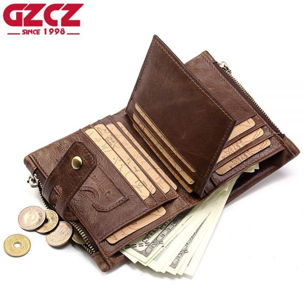 Genuine Leather Wallet Men Male Coin Purse Clamp For Money Zipper Pocket