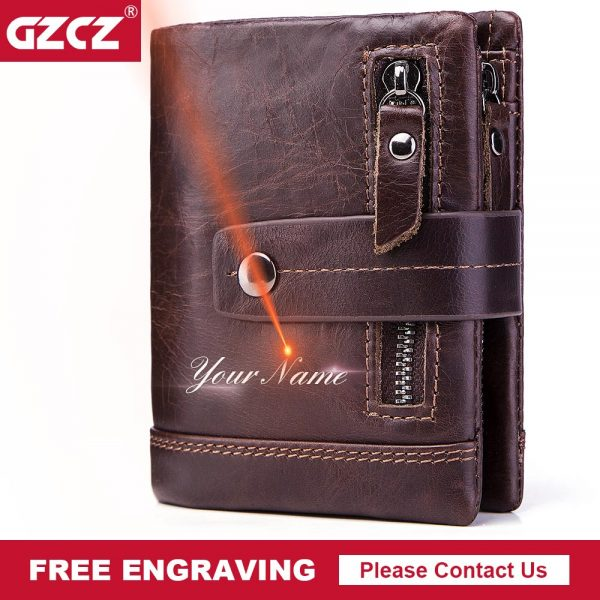 Men Wallet Genuine Leather RFID  Cell Phone Bag Long Coin Purse Free Engrave