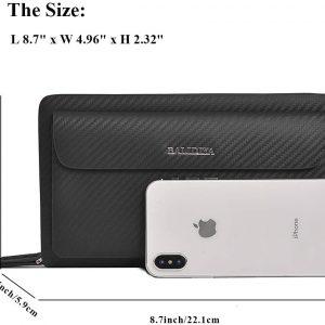 BALIDIYA Men Clutch Purse Bag Leather Wallet Card Holder Business 2 Zipper