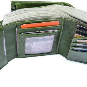 Contacts Women Bifold Genuine Leather ID Card Coin Holder Clutch Purse Wallet Green