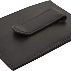 Brooks Brothers Mens Genuine Leather 2 Slot Card Wallet with Clip (Dark Brown)
