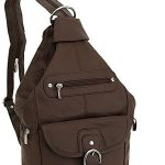 Womens-Leather-Convertible-7-Pocket-Medium-Size-Tear-Drop-Sling-Backpack-Purse-Shoulder-Bag,-Dark-Brown