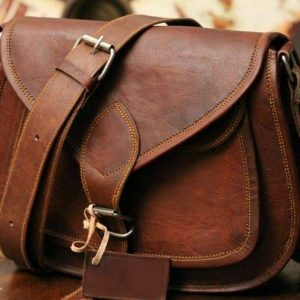 9 inch Women Leather Cross-body Shoulder Bag Satchel ladies Purse Genuine Multi Pocket Saddle Vintage Handmade Travel