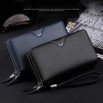 WILLIAMPOLO-Men-Wallets-Genuine-Leather-Strap-Clutch-Bag-with-Double-Zipper-Mens-Handbag(Blue)