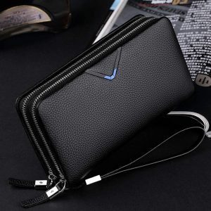 WILLIAMPOLO Men Wallets Genuine Leather Strap Clutch Bag with Double Zipper Mens Handbag(Blue)