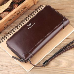 WILLIAMPOLO Long Wallet with Zipper Genuine Leather Vintage Bifold Wristle Strap (Coffee)
