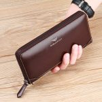 WILLIAMPOLO-Long-Wallet-with-Zipper-Genuine-Leather-Vintage-Bifold-Wristle-Strap-(Coffee)