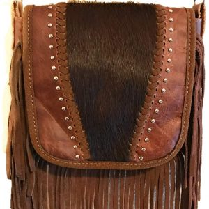 Western Genuine Tooled Leather Cowhide Fur Fringe Womens Crossbody Bag in 3 Colors