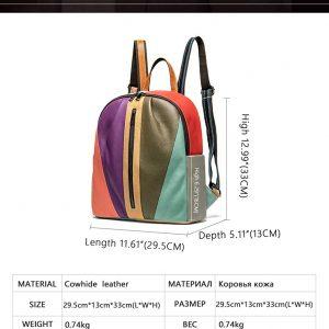 Designer Women's Multicolore Genuine Leather Backpack Handbags Ladies' Large Capacity Satchel Purse