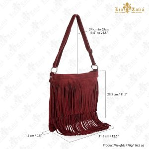 LIATALIA Womens Fringe Handbag - Real Italian Suede Leather - Tassle Effect Shoulder Bag - (Large Size) - ASHLEY