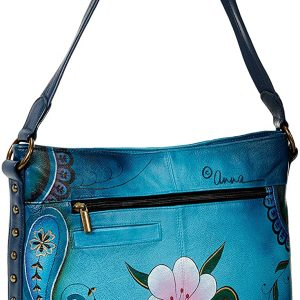 Anna by Anuschka Hobo Handbag | Genuine Leather | Denim Paisley Floral, One Size