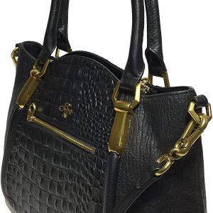 orYANY Woman's Leather Croco Satchel, Black