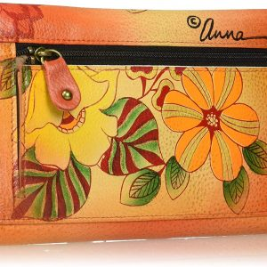 Anna by Anuschka Hand Painted Leather | Large Three Fold Checkbook Wallet/Clutch