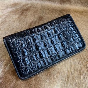 Authentic Exotic Crocodile Skin Men's Large Black Card Holders Wallet Genuine Alligator Leather Male Long Clutch Purse Money Bag