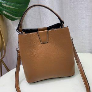 2 Straps, 3 Compartments Bucket Shoulder Bag, 100% Natural Cow's Skin, Women GENUINE LEATHER Handbag, Fashion Crossbody bag D031