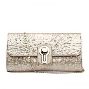 2020 New Genuine Leather Clutch Bags Women for Crocodile Pattern Chain Handbag Shoulder Messenger Bag Clutch Dag Female
