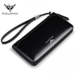 WilliamPolo Full-Grain Leather Long Wallet For Men Black Fashion Phone Credit Card Holder Coin Purses Business Clutch Cowhide