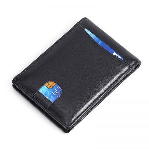 2020 Personal Customized Anti-rfid Thin Male Wallet Genuine Leather Credit Card Casual Short Purses Multi-card Position Holder