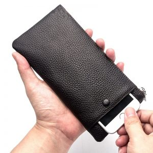 Baellerry Soft Leather Wallet Male Clutch Wallets Genuine Leather Long Purse Business Wallet Zipper Card Holder Mobile Phone Bag