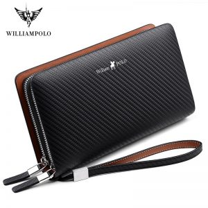 Williampolo men's wallet business large-capacity clutch bag Genuine leather clutch bag double zipper handbag long men's wallet