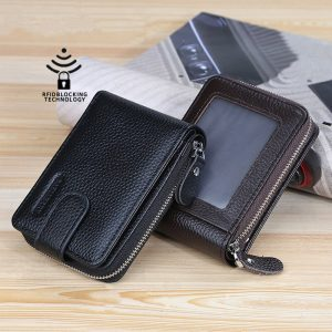 Baellerry 2020 Men's Credit Card Holder Wallet Vintage Male Wallets Soft Leather Fold ID Card Case Zipper Card Purses for Men