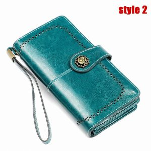 Cowhide RFID Wallet Ladies Clutch Women Hasp Zipper Wallet Genuine Leather Female Purse Long Women Wallets Coin Purse