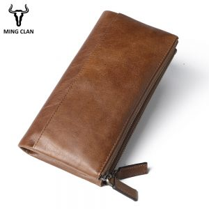 Wallet Women Genuine Leather Female Wallet RFID Double Zipper Ladies Long Clutch Wallet Credit Card Holder Phone Pocket