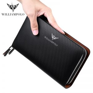 WILLIAMPOLO Luxury Business Solid Double Zipper Handbag Long men bag long Wallet