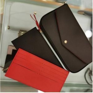 2020 New fashion P0CHETTE FELlClE bag chain three piece Wallet high quality Genuine Leather Clutch handbag with dust bag and box