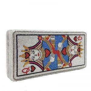 2020 New Arrivals Ladies Fashion Queen Poker Shape Purse Unique Handbags Clutch Rhinestone Diamond Luxury Handbags For Women