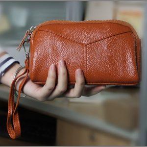 Chuwanglin Genuine Leather Clutch women Retro Ladies Long Card Clutch Women's Wallet Coin Pocket Purse Money Bag Lady G52904
