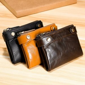 Hot Sale Oil Wax Leather Two Folds Men Wallet Fashion Genuine Leather Male Purse Card Holder