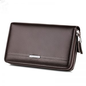 WILLIAMPOLO Purse Long Luxury Business Solid Double Zipper Long Clutch Bag Wallet