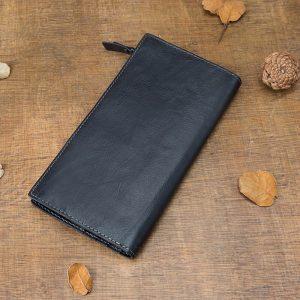 AETOO Men's long wallet, leather casual zipper wallet, multifunctional trendy mobile phone bag