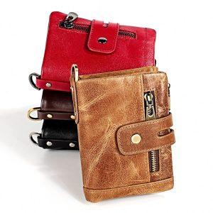 Hot Sale Crazy Horse Real Leather Men Wallets Vintage Genuine Leather Wallet for Men Cowboy with Double Zipper Purse Male Wallet
