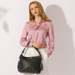 2020 New Fashion Soft Real Genuine Leather Tassel Women Handbag Elegant Ladies Hobo Crossbody Shoulder Bag Bucket Shopper White