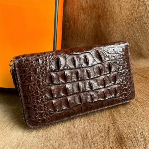 Authentic Real Crocodile Skin Men Long Card Purse Wallet Coin Pocket Genuine Alligator Leather Male Large Clutch Bag Money Case